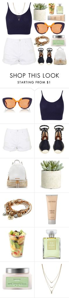 """""""Who's ready?"""" by shanelala ❤ liked on Polyvore featuring Marni, Miss Selfridge, Topshop, Valentino, MICHAEL Michael Kors, Allstate Floral, Lizzy James, Laura Mercier, Aroma and Chanel"""