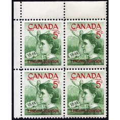 1961 CANADA SCOTT #392 MINT MNH UL CORNER BLOCK, EMILY PAULINE JOHNSON STAMPS. Buy it on eBid Canada | 151874228