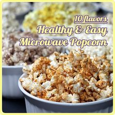 Healthy Microwave Popcorn -- 10 sweet savory flavor recipes using coconut oil; 100 calories (or less!) healthy-is-the-new-sexy Healthy Popcorn, Popcorn Recipes, Healthy Snacks, Snack Recipes, Cooking Recipes, Healthy Recipes, Healthy Eating, Stay Healthy, Drink Recipes