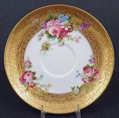 This porcelain tea cup andsaucer was produced in France by Charles Ahrenfeldt Limoges in the The saucer has a diameter of 5 inches and the cup is 2 inches high. The borders of both pieces Antique Plates, Vintage Plates, Vintage Dishes, Antique China, Vintage Teacups, Vintage Dinnerware, China Dinnerware, Tea Cup Saucer, Tea Cups