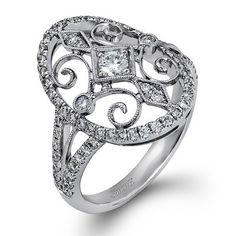 Picture of Simon G 18K White Gold Right Hand Vintage Style Diamond Ring With 0.75 Carat Diamonds