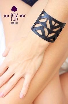 HOT PRICE!! Leather Bracelet cuff, Leather Cuff, Ladies Leather Bracelets, Black Leather no20