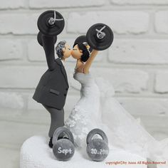 Weight lifting theme custom wedding cake topper gift by annacrafts, $220.00