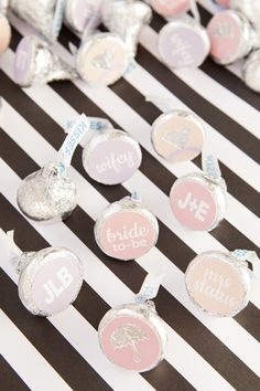 custom hershey kiss wedding favor stickers with custom text - such a fun favor idea for any wedding shower or party