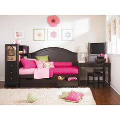 Midtown Day Bed Platform bed with storage Headboard and Desk from Lea Kids Furniture