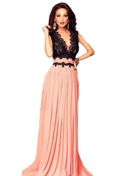9f1ad746f5d Roswear Women s Sleeveless Deep-V Neck Lace Bodice Contrast Maxi Evening  Dress