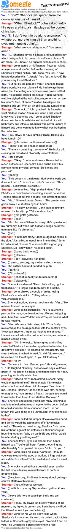 My Fluffy Johnlock RP with mycathasacne .tumblr.com :) thank you for the lovely time dear!