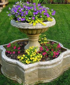 Gorgeous {Repurposed Fountain} Planter!