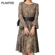 Spring Summer 2017 New Lace Flare-Sleeve Women Long Dress Fashion High Waist Semi-Sheer Female Vestido Work Wear Plus Size S~2XL
