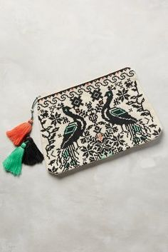 Star Mela Embroidered Peacocks Pouch #anthrofave