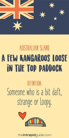 Aussie Slang Funny - Australian Slang - A few Kangaroos loose in the top paddock Funny Relationship Quotes, Funny Quotes About Life, Flirting Quotes, Life Quotes, Australian Quotes, Australian Slang, Australian English, School Humor, Mom Humor