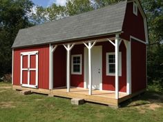 This 12x24 barn shed with porch is 'huge' with a big spacious loft, nice front porch, and double shed doors.  Would make a great 'tiny house'!