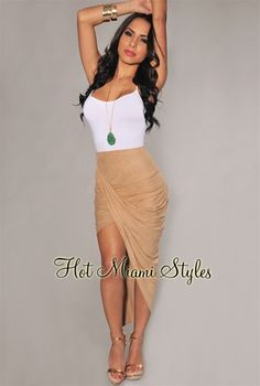 Nude Faux Suede Ruched Asymmetrical Draped Skirt