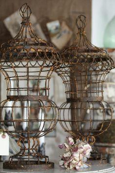 vintage lidded wire urns