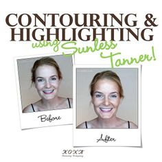 So...have you ever heard of HIGHLIGHTING with a #sunless #tanner?! It can be done! Here's a before and after of me (Katie Quinn) to prove it...since this is #selftanner, I will be waking up #contoured and #highlighted for over a week - no foundation, no bronzing powder, and no #highlighter! Watch the video at KonaTans.com | #spraytan #tan #sunshine #makeup #beauty #fashion #makeupartist #mua #tanning #cali #beach #california #palmtrees #calilife #beachlife #foreveronvacation