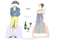 Dorothea & Edgar, 1815, Evening Wear: A Fashionable Couple of the 1810s paper dolls by Margaret Fleming | Gabi's Paper Dolls
