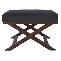 @Overstock - This beautiful ottoman features a walnut finish with criss-cross legs. The durable dark linen fabric looks rich and inviting with its deep color and soft feel.http://www.overstock.com/Home-Garden/Traditional-Cross-Legs-Charcoal-Bench-Ottoman/7348733/product.html?CID=214117 $127.79