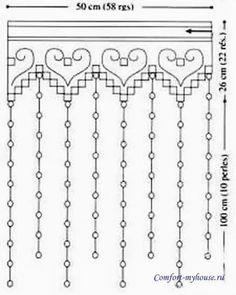 Филейное вязание крючком. Кайма и занавески со схемами   Уют и тепло моего дома