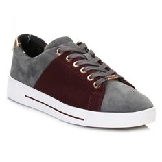 Womens Burgundy Dark Grey Ophily Trainers (2,135 MXN) ❤ liked on Polyvore featuring shoes, sneakers, burgundy shoes, ted baker, lace up shoes, ted baker sneakers and lace up sneakers