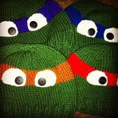 Children's hand knitted ninja turtle beanie hat Leonardo Donatello Michelangelo or Raphael TMNT