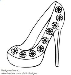 block-heels-flower-decoration-outline-vector-graphics
