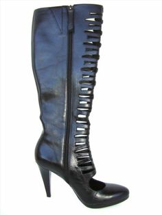 CALVIN KLEIN 'BRIELLE' Women's Shoes Size 7M Leather Knee-High Boots MSRP $229