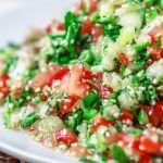 Tabouli Recipe   The Mediterranean Dish. Authentic Middle Eastern tabouli salad with fresh parsley, mint, bulgur, finely chopped vegetables and a simple citrus dressing. See the step-by-step tutorial at The Mediterranean Dish food blog.