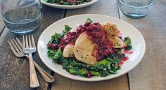 Seared Chicken Cutlets with Winter Greens & Pomegranate Sauce | Taste for Adventure - Unusual, Unique & Downright Awesome Recipes