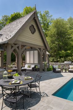 Inside a Mid-Country English Tudor Revival Manor Designed by Douglas VanderHorn Architects (PHOTOS) - Pricey Pads Deck With Pergola, Gazebo, Outdoor Rooms, Outdoor Living, Outdoor Kitchens, Porches, Country Pool, English Tudor Homes, Porch And Balcony