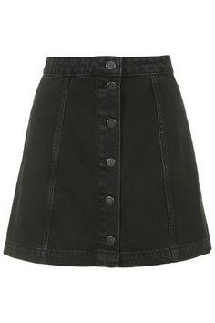 MOTO Black Button Through A-Line Skirt
