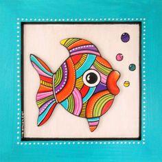 """Tableau en bois peint du petit poisson """"Kibulle"""" : Décorations murales par sylphide"""