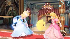 Princesses Rosalina and Peach are dancing with Luma.  (SSB4)