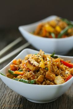 Eat Good 4 Life Dirty Thai fried Quinoa. Done in 15-20 minutes and just plain sensational. You can use chicken instead of tofu if you like and any other veggies of your choice. Everyone had seconds it was that good!!
