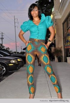 Modernized Ankara pants and shirt