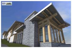 Samuelson Timberframe Design Inc. is a design studio committed to providing innovative custom timber frame design, illustrations & animations, and complete construction drawings for the discerning home owner. Construction Drawings, Timber Frame Homes, West Coast, House Design, Contemporary, Mansions, Studio, House Styles, Home Decor