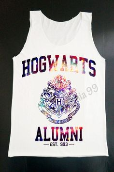 Hogwarts Alumni Galaxy Tank Top Harry Potter Tank Movie Tank Top Women White T Shirt Tunic Top Vest Sleeveless Women T-Shirt Size S