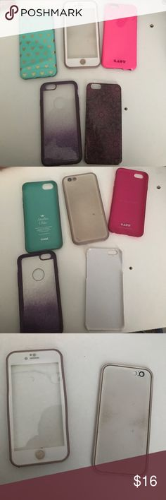 iphone 6/6s cases all just regular shell cases. The pink one is some what protective, the white one isn't name brand. It isn't name brand but I took my phone in the water and there was no damage so I would say it's waterproof.     16 for all of them Other