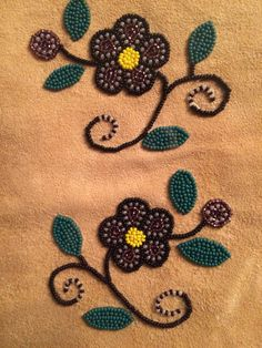 Cree beaded floral design on moose hide ~~made by Monique B. Native Beading Patterns, Bead Embroidery Patterns, Beadwork Designs, Native Beadwork, Native American Beadwork, Beaded Embroidery, Bead Patterns, Indian Crafts, Beading Projects