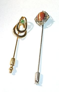 2 VINTAGE HAT PINS GOLD TONE & CATS EYE SILVER TONE