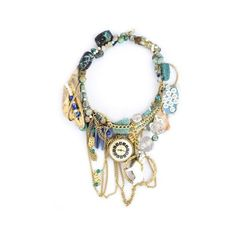 Little Glass Clementine Turquoise Golden Circus Necklace ($670) ❤ liked on Polyvore
