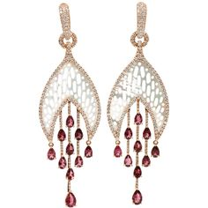 Carved Mother of Pearl, Pink Tourmaline and Pave Diamond Earrings