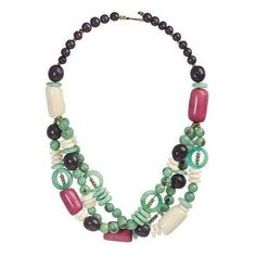 Tagua and Seed Miranda Necklace in Sea Green - Faire Collection
