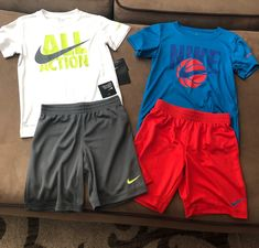 Two sets Nike Boys size Shirts w matching shorts Brand new w tags Lazy Day Outfits, Cute Swag Outfits, Chill Outfits, Nike Outfits, Casual Outfits, Fashion Outfits, Sport Fashion, Mens Fashion, Buy Wallet