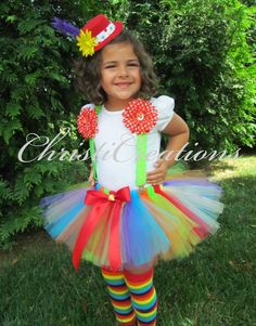 Girl Clown Costume Halloween Tutu Hat Tutu by ChristiCreations Toddler Clown Costume, Tutu Costumes Kids, Girl Clown Costume, Clown Hat, Clown Halloween Costumes, Costume Hats, Halloween Kids, Rainbow Tutu, Fantasias Halloween