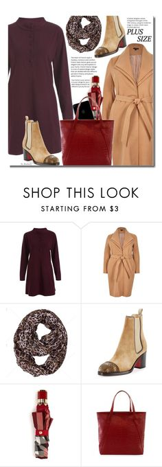 """Fall Dress (plus size)"" by beebeely-look ❤ liked on Polyvore featuring River Island, Christian Louboutin, Burberry, plussize, fallfashion, plussizefashion, camelcoat and twinkledeals"
