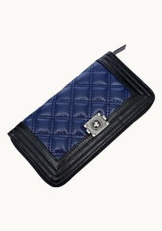 Ingrid Quilted Leather Zip Wallet Blue