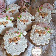 Christmas cookies, Santa cookies, pink Santa, keepsake cookie gift, gingerbread cookies, shabby chic cookies,