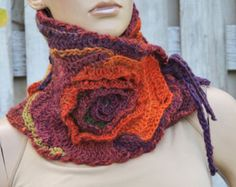 Crochet  Scarf Capelet Freeform crochet/Nek warmer  Brown/green/orange/purple / Women / Wool