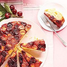Double-Cherry Upside-Down Cake, Cooking Light. Juices released from the fruit make for a moist cake. The batter comes to the top of the pan and threatens to spill over. It shouldn't, but just in case, bake on a foil-lined baking sheet.