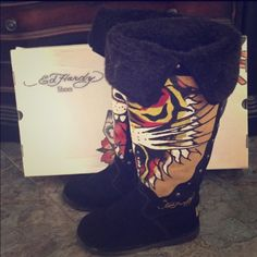 Ed Hardy Boots Black suede with painted tiger knee high boots Ed Hardy Shoes Over the Knee Boots
